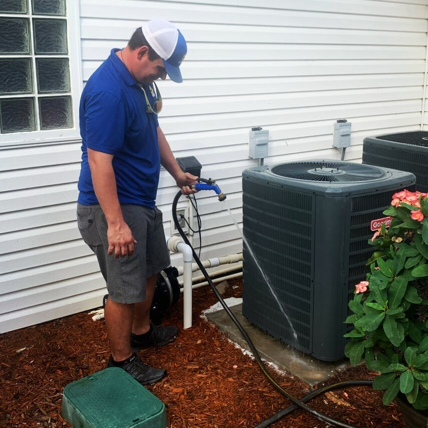 clayton ray cleaning outside condenser unit