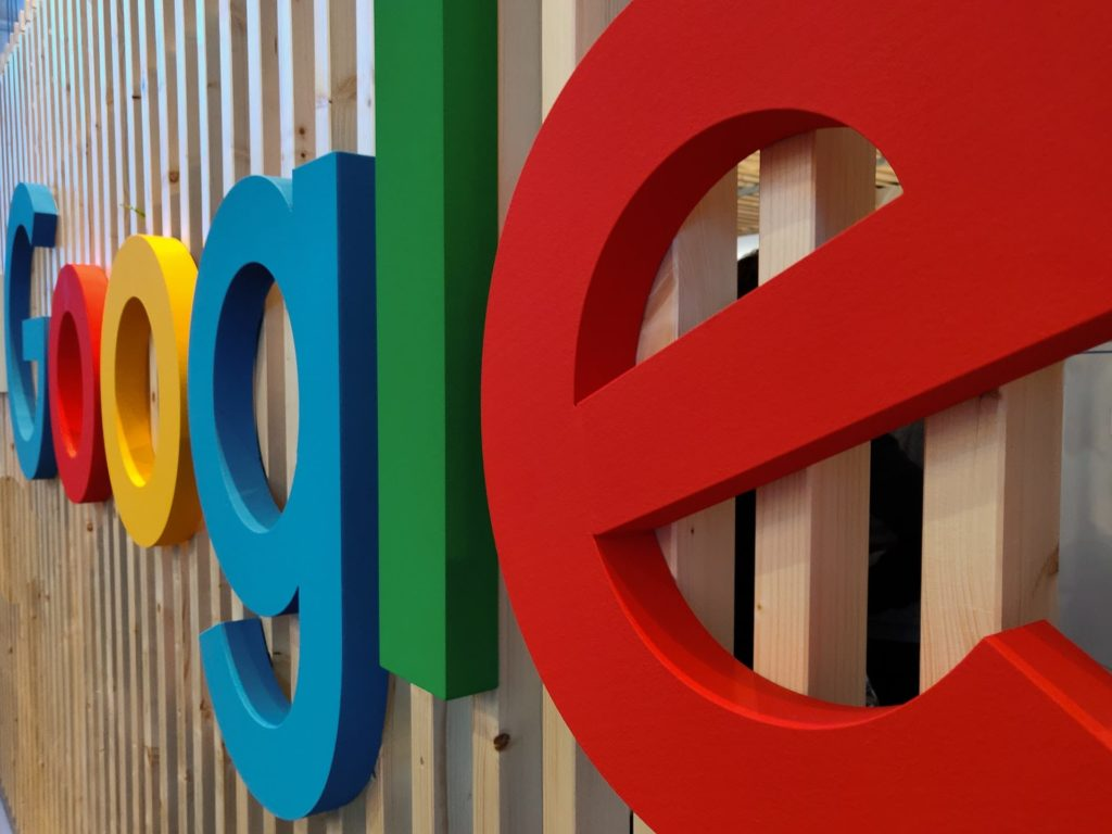 artistic sign that says google